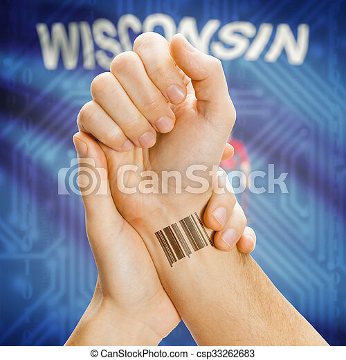 Barcode ID number on wrist and USA states flags on background - Wisconsin - csp33262683
