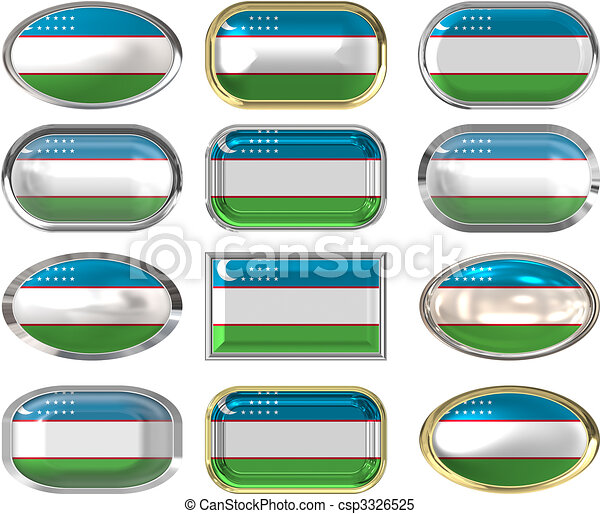 12 buttons of the Flag of uzbekistan - csp3326525