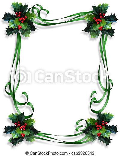 Drawings of Christmas Holly Border ribbons - Image and ...