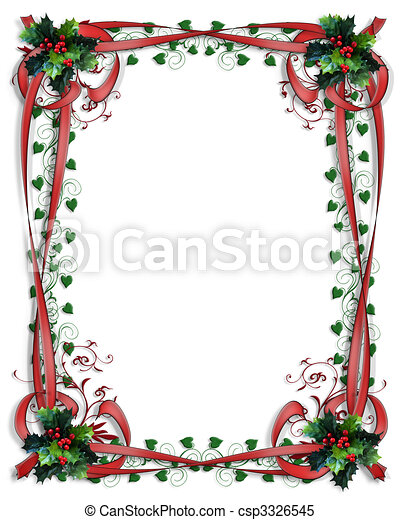 Christmas Holly Border ribbons Frame 3D - csp3326545