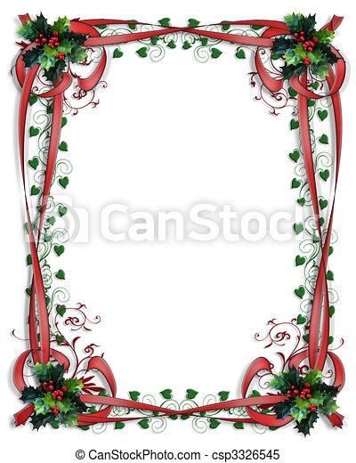 Christmas Holly Border ribbons Frame 3D - csp3326545
