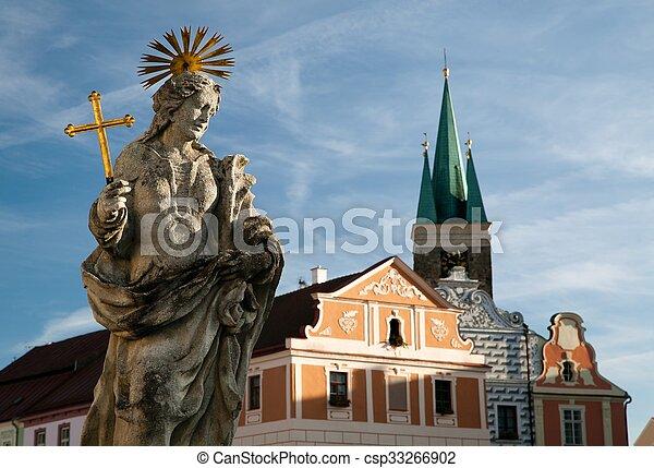 Telc or Teltsch town - statue of st. Margaret - csp33266902