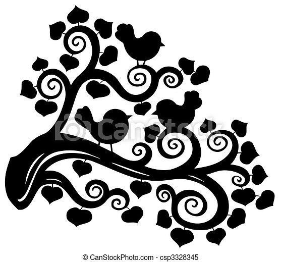 Stylized branch silhouette with birds - csp3328345