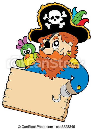 Pirate with parrot holding table - csp3328346