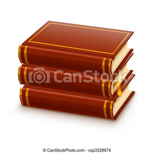 pile of closed red books - csp3328974
