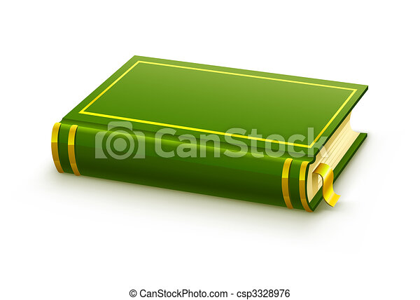 closed green book with blank cover - csp3328976