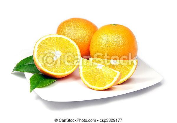 Oranges on Plate - csp3329177