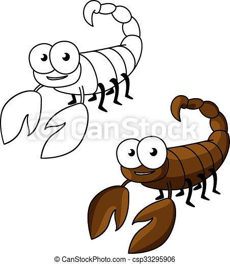 Vector Clipart of Funny little cartoon brown scorpion ...