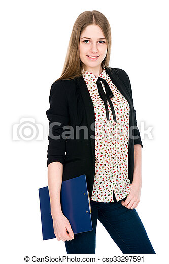 Beautiful office young smiling woman with a tablet.  - csp33297591