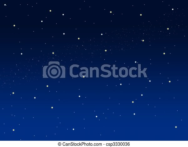 Blue sky illustration background with little stars - csp3330036