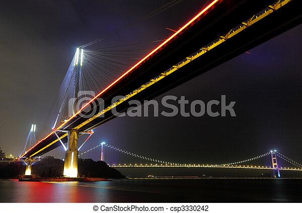 Ting Kau Bridge and Tsing ma Bridge at night, in Hong Kong - csp3330242