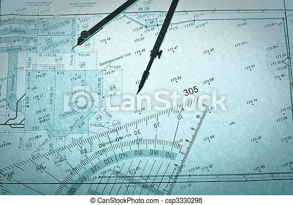 blue backlit surveyor's plan, circle and set square - csp3330298