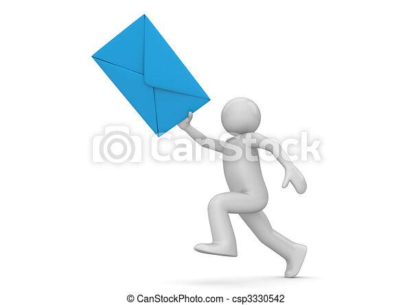 Messenger - human with blue envelope - csp3330542