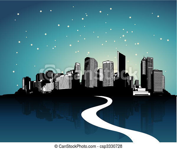 City with reflection. Vector art - csp3330728