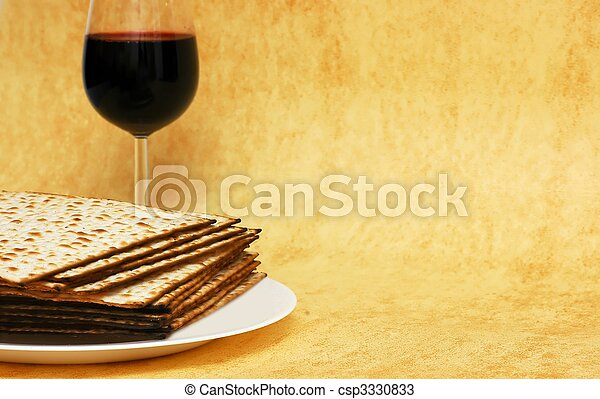 Wine and matzot - symbols of Passover - csp3330833