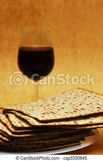 Wine and matzot - symbols of Passover - csp3330845