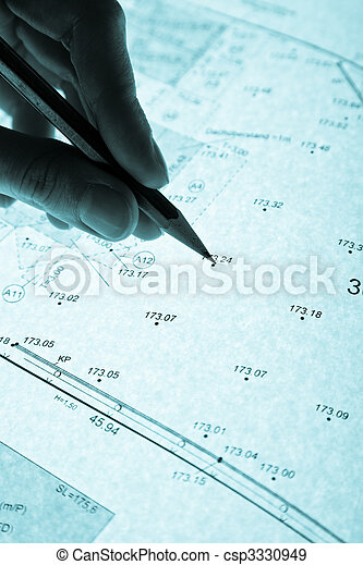 surveyor's plan and pencil with backlight - csp3330949