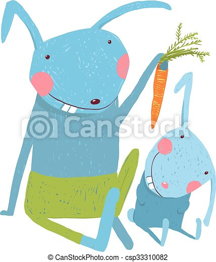 Hare and leveret eating carrot  - csp33310082