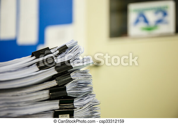A pile of documents  - csp33312159