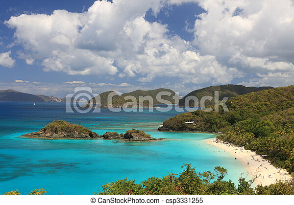 US Virgin Islands are true paradise in the Caribbean, Paradise-like US Virgin Islands in the Caribbean. Turquoise ocean and lovely landscapes., Paradise-like US Virgin Islands in the Caribbean. Turquo - csp3331255