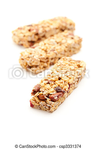 Three Granola Bars Isolated on White - csp3331374