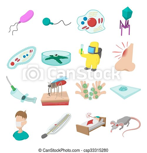 Virus cartoon icons set - csp33315280