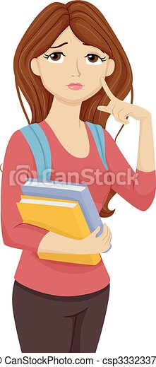 Vectors Illustration of Teen Girl Student Thinking to ...