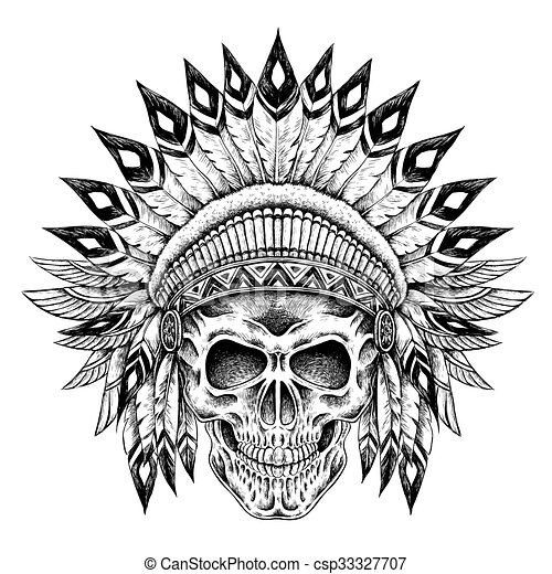 Vector Clipart Of Indian Style Skull