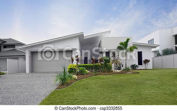 Images de maison mitoyenne moderne ext rieur maison devant csp333285 - Exterieur maison moderne ...