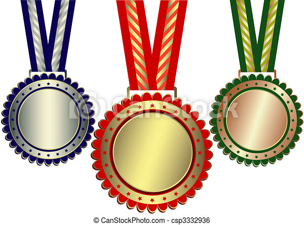 Gold, Silver And Bronze Awards (vector) - csp3332936