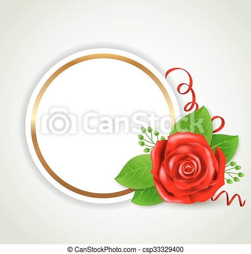 Round label with red rose - csp33329400
