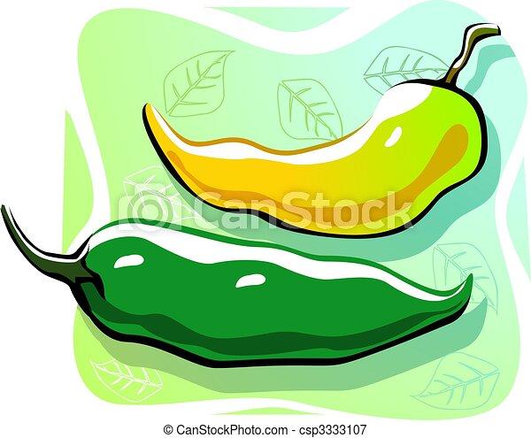 Stock de ilustraciones de chiles - Ilustración, dos, chiles, verde ...