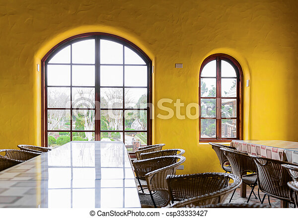 Empty restaurant with big window and yellow wall