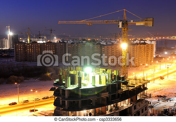 construction building site at night - csp3333656