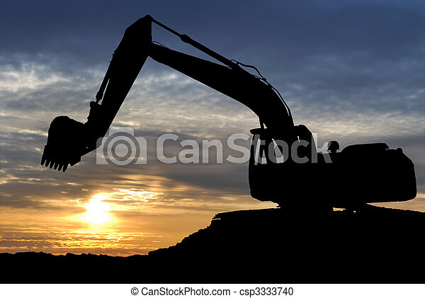 Loader excavator over sunset - csp3333740