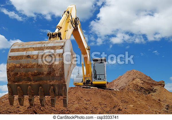 Excavator Loader bulldozer with big bucket - csp3333741
