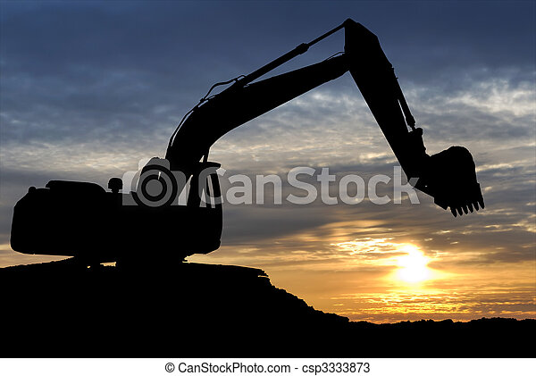 Loader excavator over sunset - csp3333873