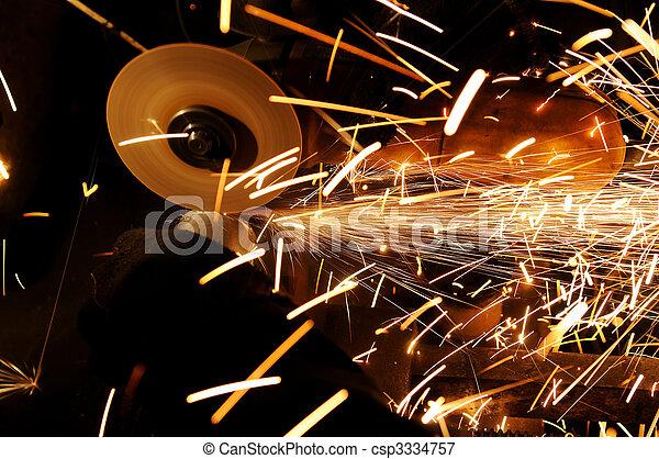 Sharpening and cutting metal - csp3334757
