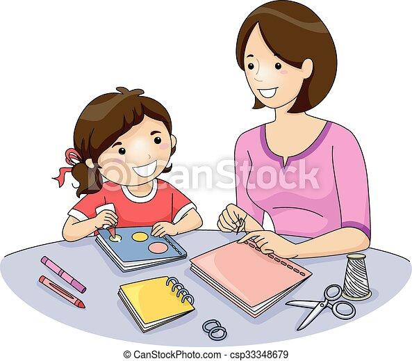 Vectors Illustration of Mom Kid Book Making - Illustration ...