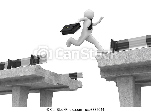 Businessman jumping over the road gap - csp3335044