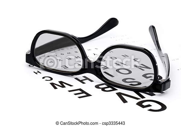 Horizontal image of eyeglasses on a eye exam chart - csp3335443