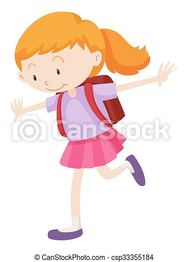 Vector of Little girl with backpack on her back ...