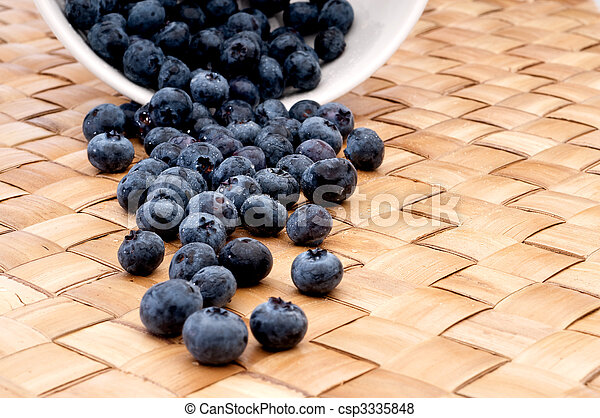vertical image of fresh blueberries spilling from a bowl - csp3335848