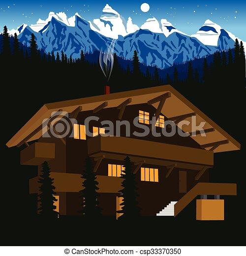 Vecteur clipart de alpes montagne chalet bois nuit - Dessin de chalet de montagne ...