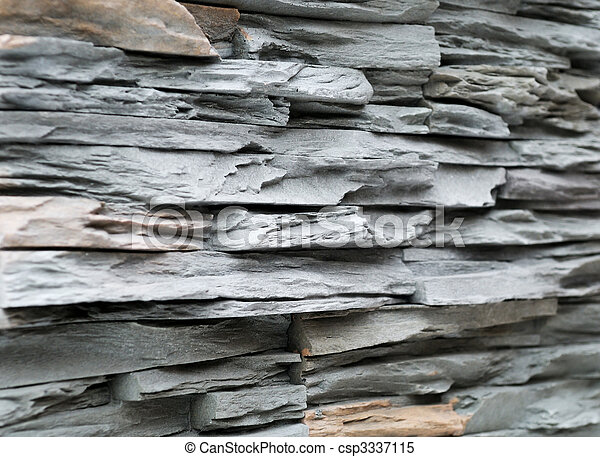 Grey brick stone exterior and interior decoration building material for wall finishing - csp3337115