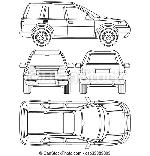 Vector Clipart Of Car Truck Suv Line Draw Rent Damage