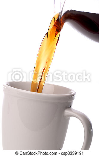 tilted vertical close up coffee being poured into a coffee cup - csp3339191