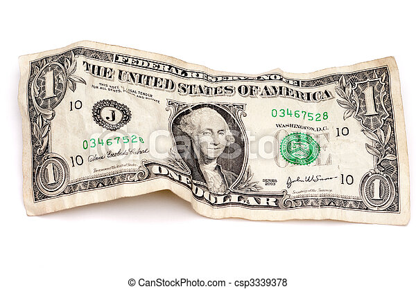 A horizontal image of a wrinkled American dollar bill - csp3339378