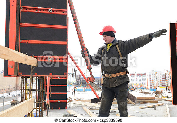 worker builder and concrete formwork - csp3339598