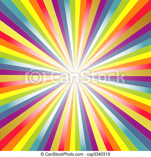 Rainbow  background with rays - csp3340319
